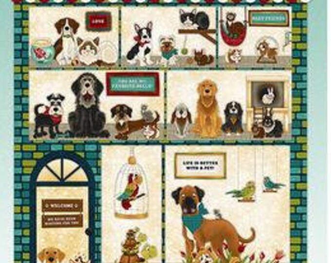 """Rescued and Loved Panel 24"""" by Henry Glass and Co   44"""" wide 100% Cotton Fabric (#4)"""