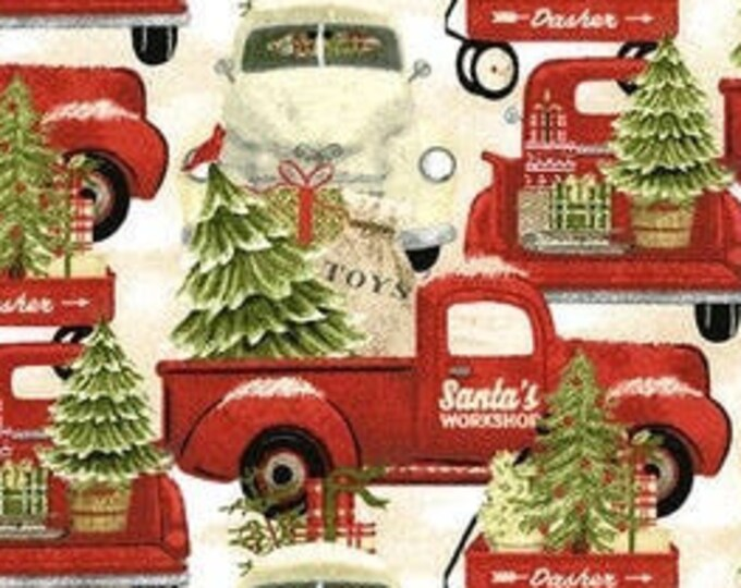 """Home for the Holidays Trucks  by  3 Wishes   44"""" wide 100% Cotton Fabric"""