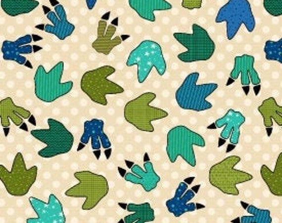 """Dinosaur Prints from I Love You This Much by Henry Glass 8565-44  100% Cotton 44/45"""" Wide Fabrics"""