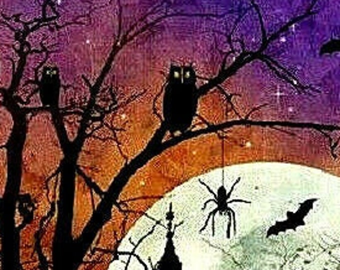 "Frightful Night by Wilmington Prints  24"" Panel Orange  100% cotton (#12)"