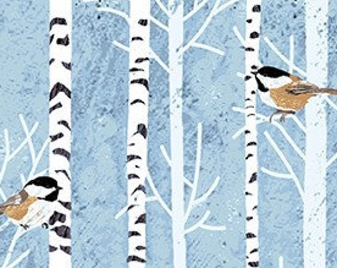 Woodland Winter Birds by Two Can Art  for Andover Fabrics A9749B    44-inch Wide  100% Cotton Fabric Yardage