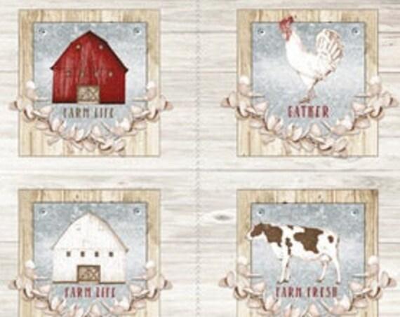 "Farm Life  by Wilmington Prints -  6  frame  24"" x 44"" Panel  100% cotton"
