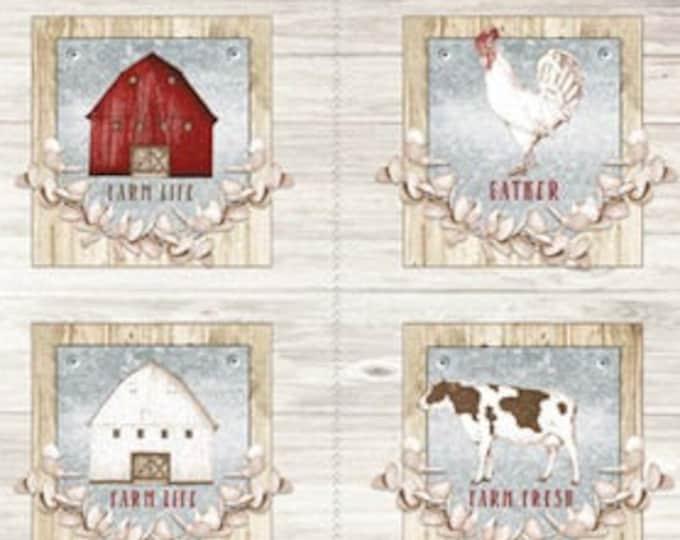 "Farm Life  by Wilmington Prints -  6  frame  24"" x 44"" Panel  100% cotton (#9)"