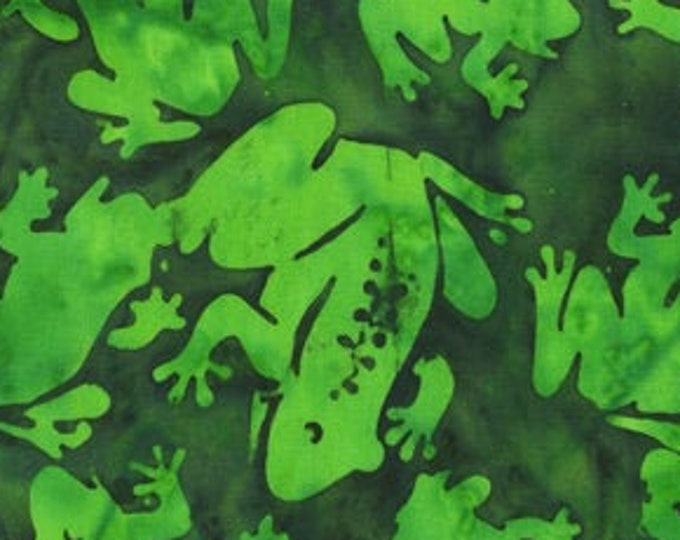 """Frogs by Anthology Batiks  Green  9059Q-3  100% Cotton 44/45"""" Wide Fabrics"""