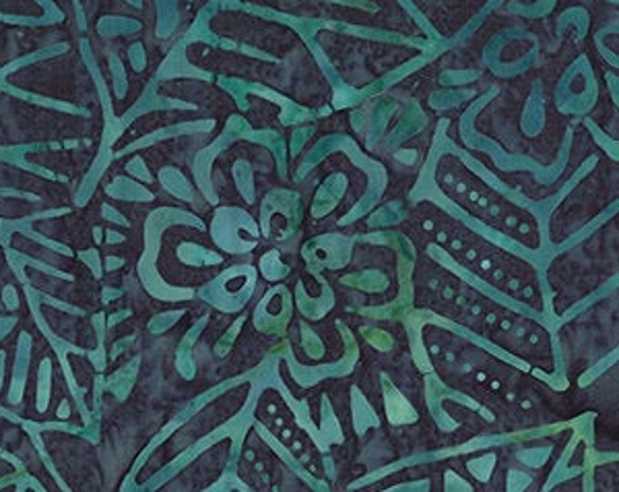 """Leaf & Flower Mix   by Wilmington Prints 22187-794 Teal Blue  44"""" wide fabric 100% cotton"""