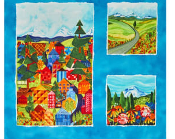 "Quiltlandia Blue Oregon Panel 24"" Maywood Studios 100% Cotton (#2)"