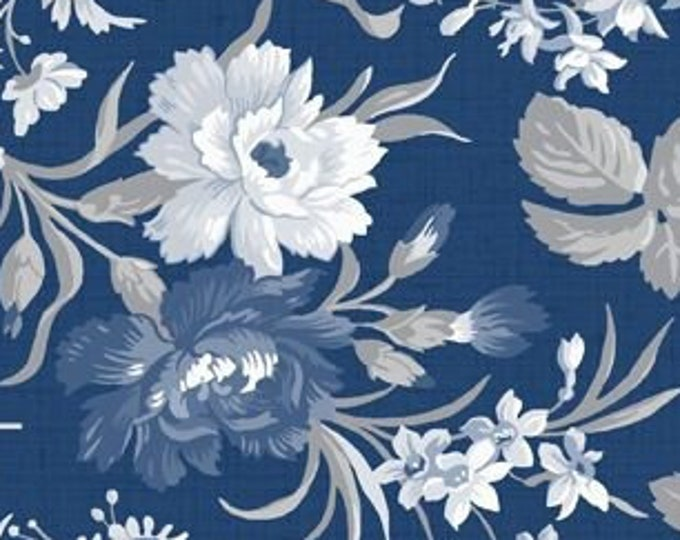 "Indigo Garden Large Floral - Courtyard BOM - by Wilmington Prints  B 98672-449  44"" wide 100% Cotton Fabric"