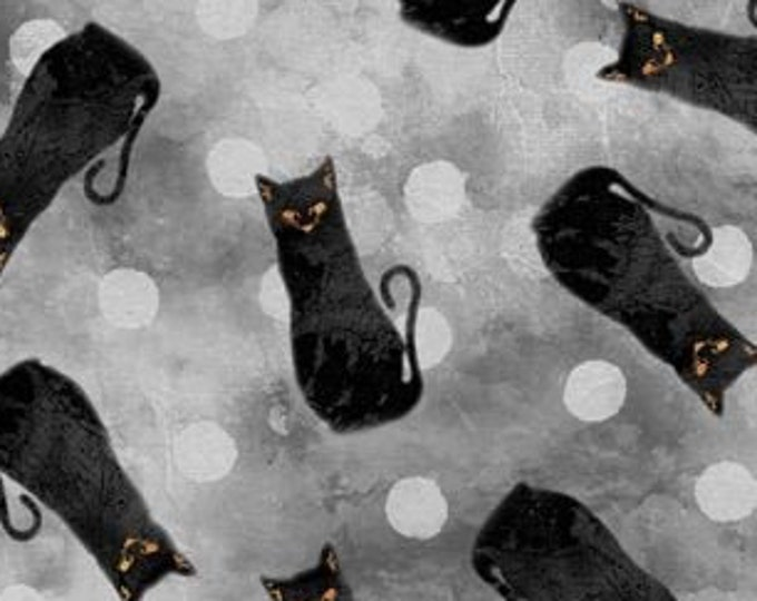 """Frightful Night by Wilmington Prints  Gray Cats 2056-998  44"""" wide 100% Cotton Fabric"""