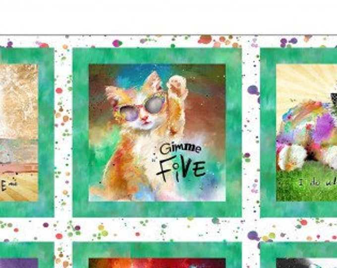 """Good Kitty Panel   36""""   by Conie Haley   3 Wishes (#14)   44"""" wide 100% Cotton Fabric"""