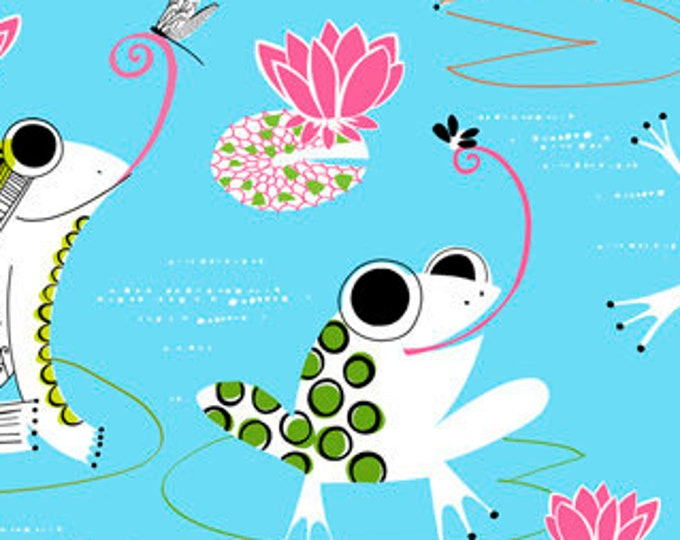 """Hop to It Frogs  by QT Fabrics 27268-Q  44"""" wide 100% Cotton Fabric"""