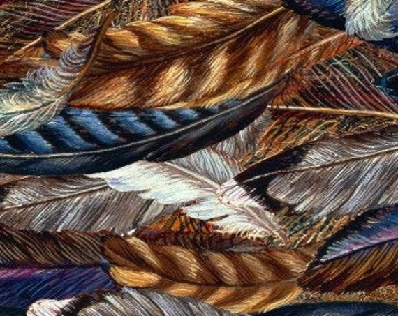 """Feathers  Spirit of Flight by Josephine Wall for 3 Wishes   44"""" Wide 100% Cotton ****NOT A PUZZLE****"""