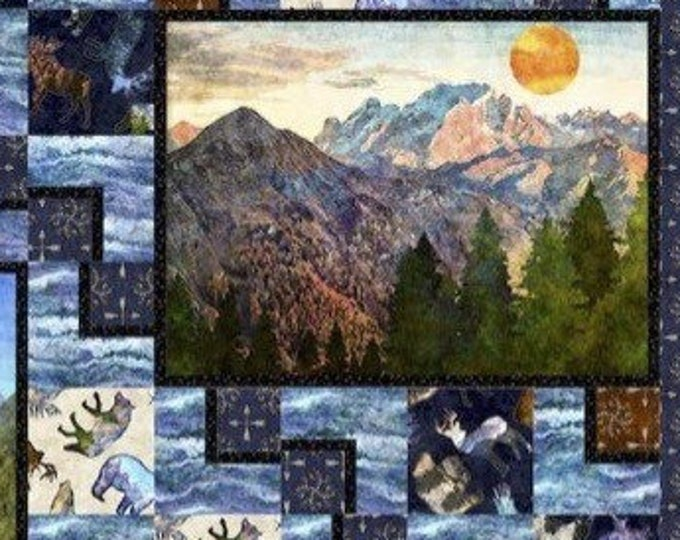 """Waterscape Quilt Kit featuring Untamed Panels. Lap size 55"""" x 63"""" Includes binding"""