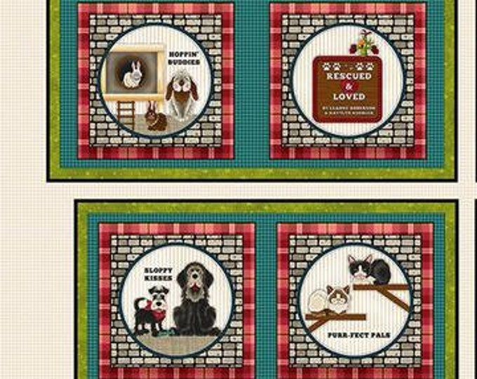"""Rescued and Loved Panel BOOK by Henry Glass and Co  1 yard panel  44"""" wide 100% Cotton Fabric (#23)"""