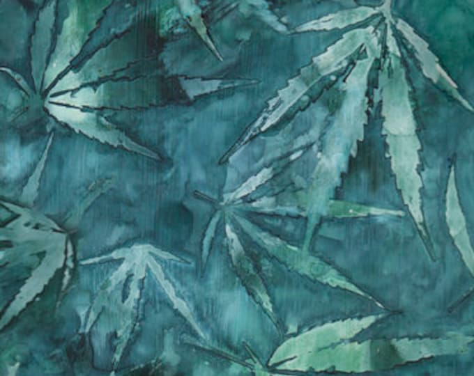 """Cannabis Teal by QT Fabrics  24913-Q  44"""" Wide 100% Cotton"""
