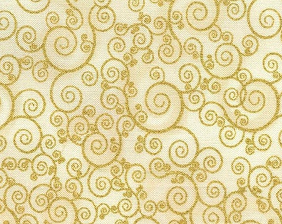 "Holiday Cream Swirls by Timeless Treasures CM4988  Gold Metallic 44"" wide 100% Cotton Fabric"
