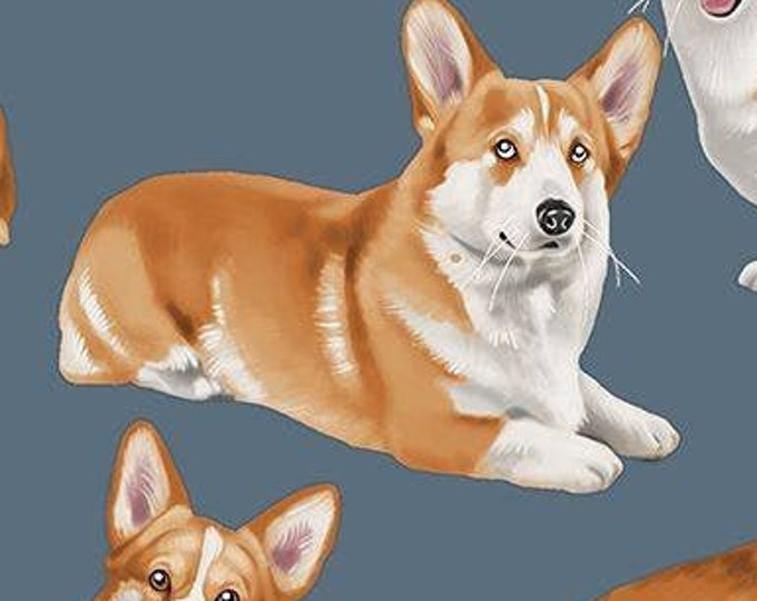 """Dog Breeds Corgis by Timeless Treasures - Grey C7525  44"""" Wide 100% Cotton"""