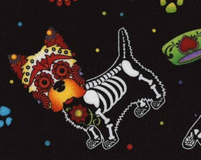 """Day of the Dead Pups  by Timeless Treasures C4640  100% Cotton 44/45"""" Wide Fabrics"""
