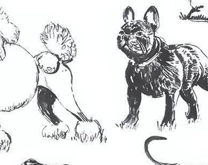 """Sketched Realistic Dogs by Timeless Treasures DOG-C8240  100% Cotton 44/45"""" Wide Fabrics"""