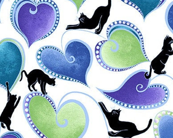 """Hearts and Cats White from Catitude Singing the Blues by Benartex  12063P-09 44"""" Wide 100% Cotton"""