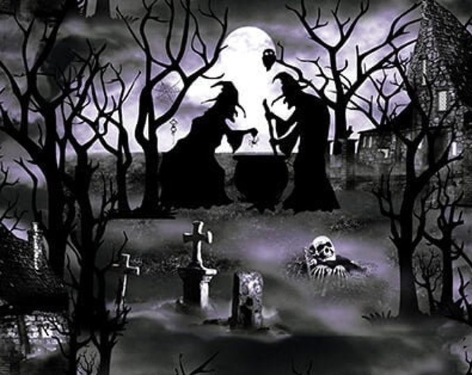 """Hocus Pocus - Witches  by Blank Quilting  1577G-95  GLOWS in the DARK  100% cotton 44/45"""" wide fabric"""