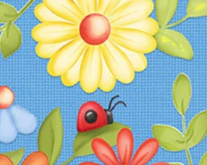 """Gnome is Where the Garden Grows Floral    by Henry Glass  9447-11   44"""" wide 100% Cotton Fabric"""