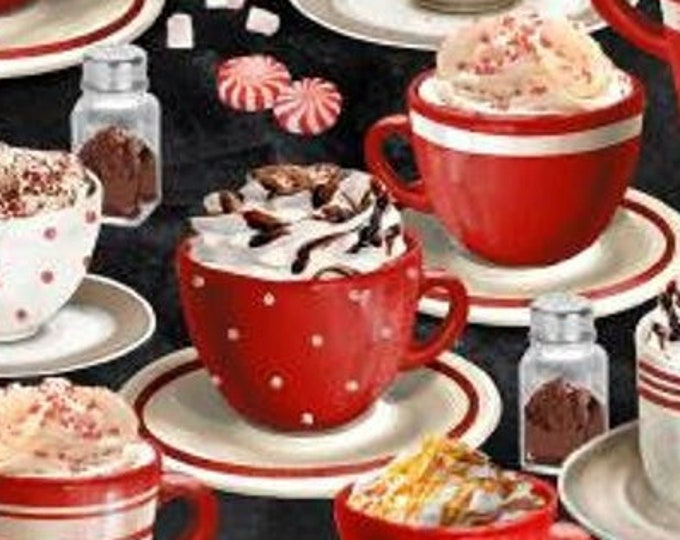 """Time for Hot Cocoa All Over by Wilmington Prints  30523-392  44"""" wide 100% Cotton Fabric"""