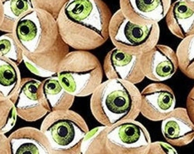 """Hocus Pocus - Eyes  by Blank Quilting  1579G-66  GLOWS in the DARK  100% cotton 44/45"""" wide fabric"""