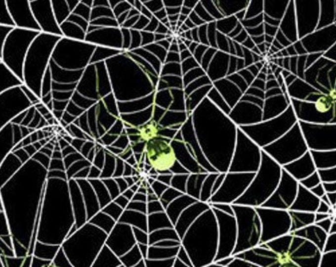 """Hocus Pocus - Spiders  by Blank Quilting  1580G-99  GLOWS in the DARK  100% cotton 44/45"""" wide fabric"""