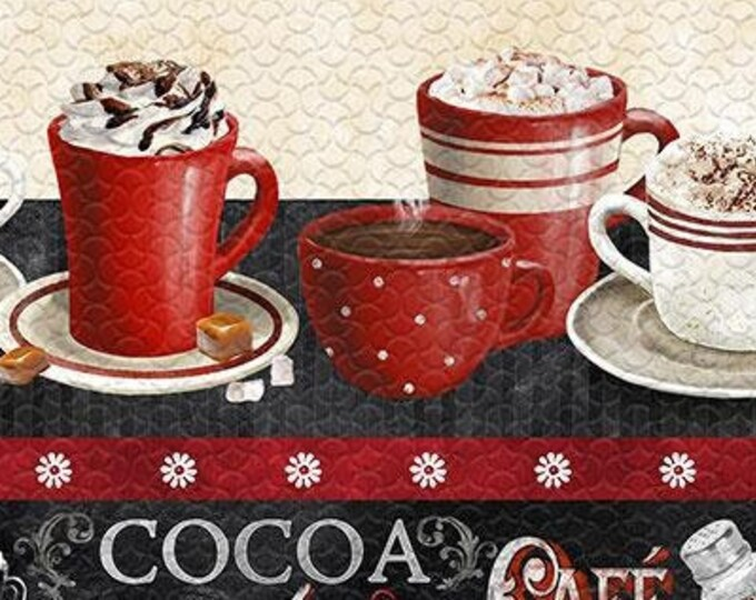 """Time for Hot Cocoa Border Stripe by Wilmington Prints  30522-923  44"""" wide 100% Cotton Fabric"""