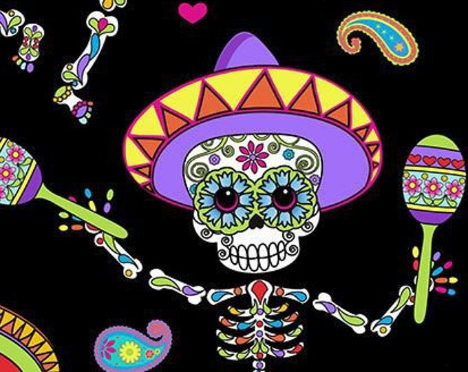 """Dancing Day of the Dead  by Timeless Treasures C6538  100% Cotton 44/45"""" Wide Fabrics"""