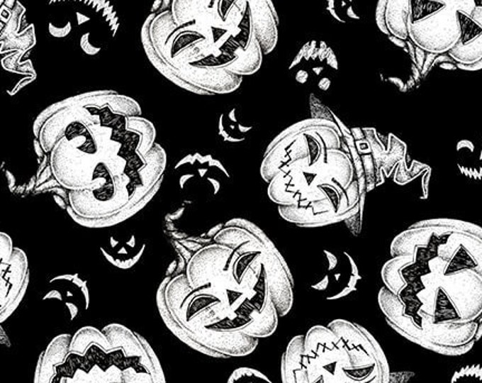 """Hocus Pocus -Tossed Pumpkins   by Blank Quilting  1582G-99  GLOWS in the DARK  100% cotton 44/45"""" wide fabric"""