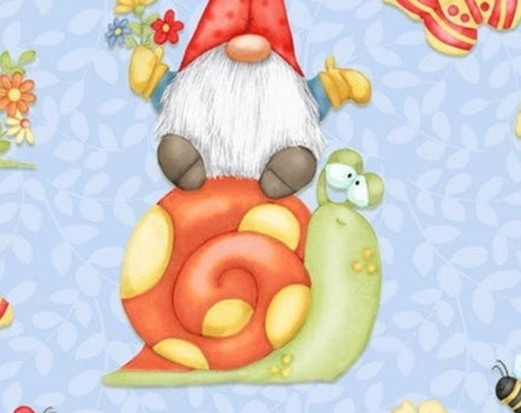 "Gnome is Where the Garden Grows  Busy Gnomes   by Henry Glass  9444-11   44"" wide 100% Cotton Fabric"