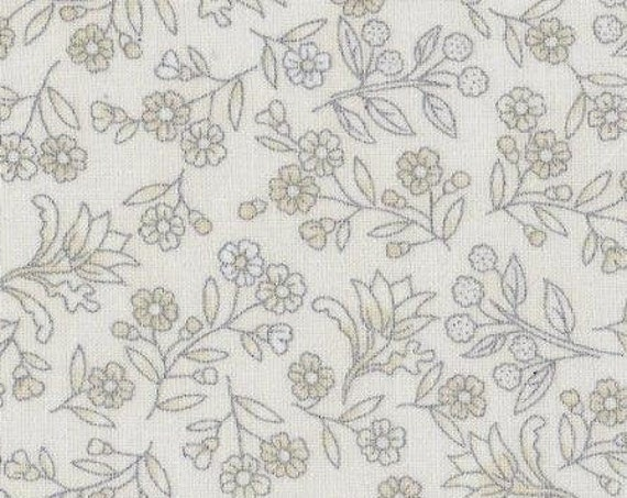"Melba Metallic Ivory Floral by The Texitile Pantry WW3552 44"" wide 100% Cotton Fabric"