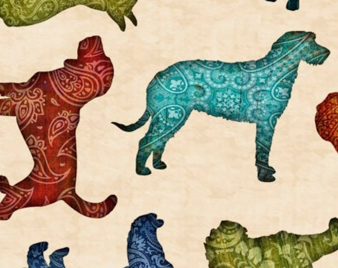 """Must Love Dogs by Dan Morris for   QT Fabrics 26937-E  44"""" wide 100% Cotton Fabric"""