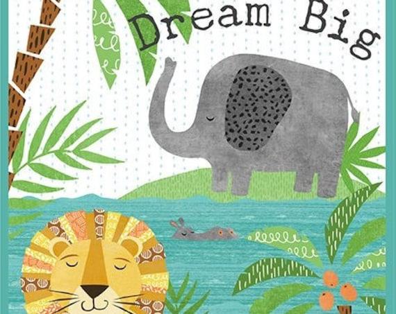 "Wilmington Prints Dream Big 24"" Panel. Elephant, Hippo, and Lion 100% cotton (#7)"
