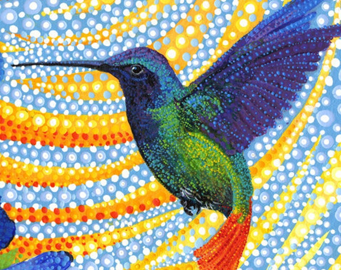 """Dreamscape Morning Glory Hummingbird by Ira Kennedy for Moda  51241-11D  28"""" x 44""""  Panel 100% cotton (#2)"""