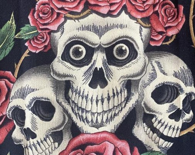 """Rose and Skull Tattoo  by Alexander Henry   44"""" Wide 100% Cotton"""