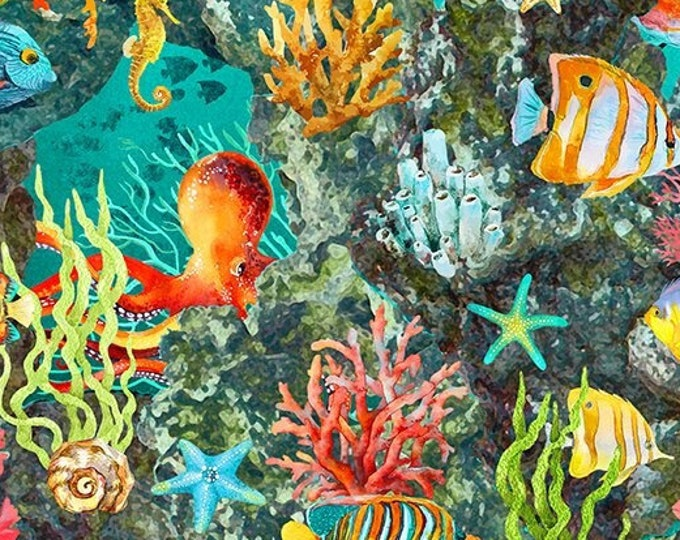"""Calypso II Tropical Fish Blue  by  In The Beginning Fabrics   44"""" wide 100% Cotton Fabric"""