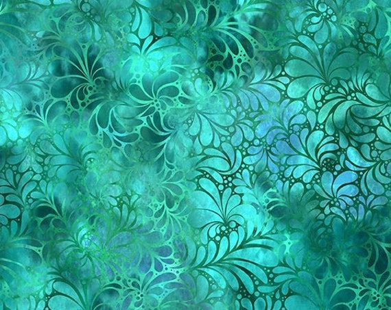 """Rainbow of Jewels Teal by  In The Beginning Fabrics 13RJ2  44"""" wide 100% Cotton Fabric"""