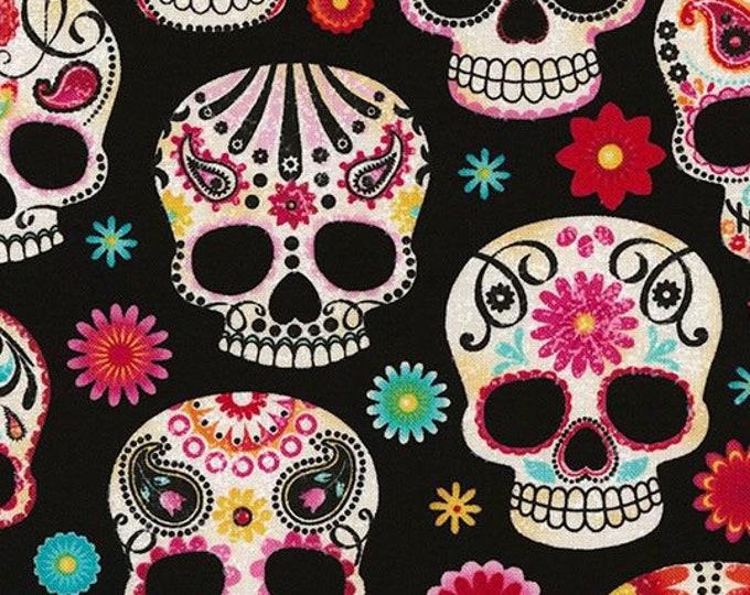 "Sugar Skulls  by Timeless Treasures Fun-C4139 100% Cotton 44/45"" Wide Fabrics"