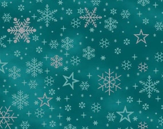 "It's Snowflake  from Stof Fabrics of Denmark 4597M-017 Teal 44"" Wide 100% Cotton"