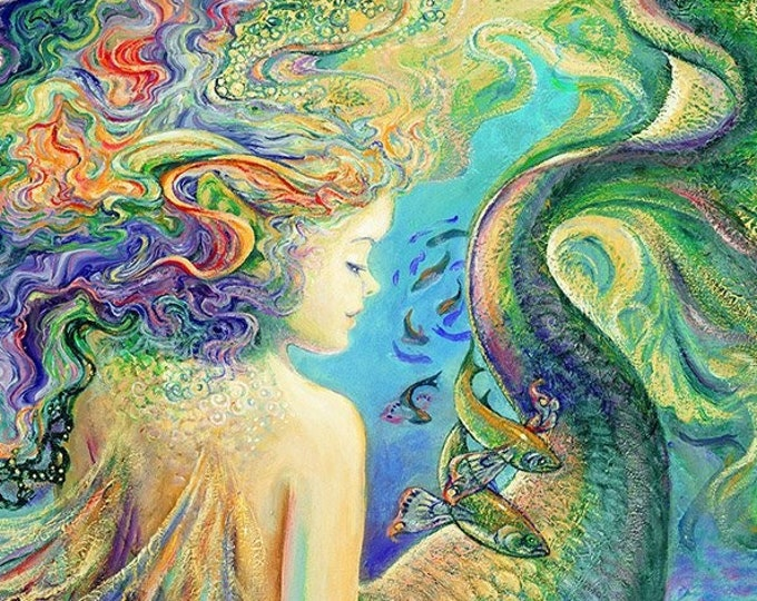 """Call of the Sea Mermaid By Josephine Wall for 3 Wishes 36"""" Panel   44"""" wide 100% Cotton Fabric  (#35)  **NOT A  PUZZLE**"""