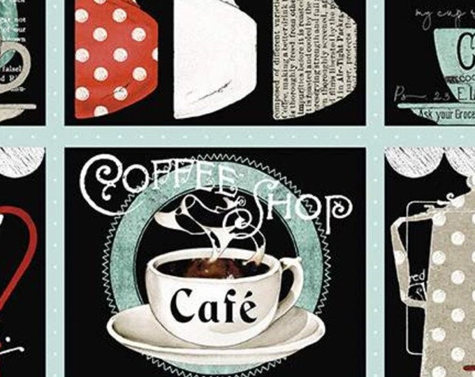 """Coffee Chalk Placemat Panel by J Wecker Frisch for Riley Blake P11040  24""""  100% cotton 44/45"""" wide (#5)"""