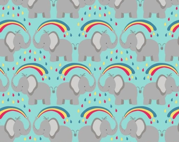 """Rainbow Elephants  by Lewis and Irene Ltd   44"""" wide 100% Cotton Fabric"""