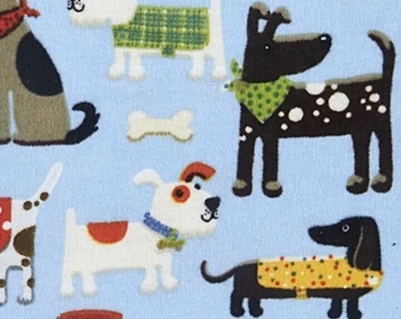"""FLANNEL Dogs in Coats by AE Nathan Fabrics    44"""" wide 100% Cotton Fabric"""