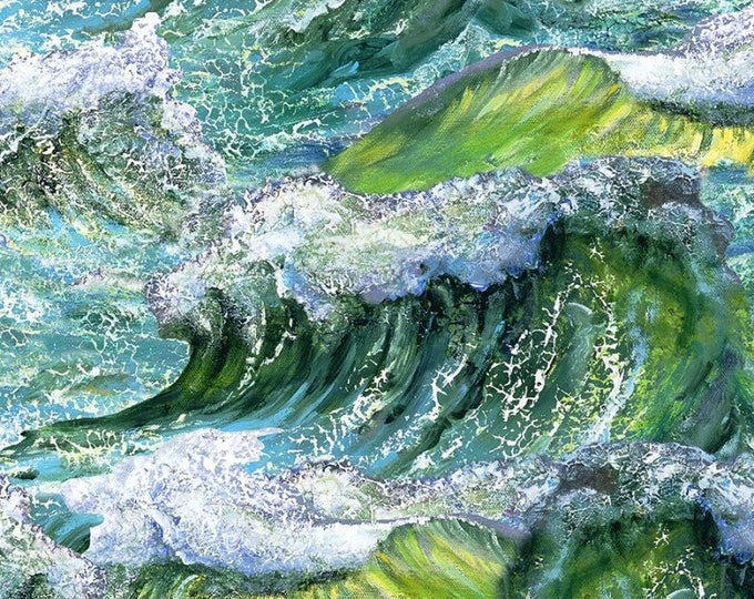 """Call Of The Sea Waves Green by Josephine Wall for 3 Wishes   44"""" wide 100% Cotton Fabric  **NOT A PUZZLE**"""
