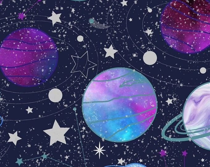 """Starlight Stars and Planets with Glitter  3 Wishes   44"""" wide 100% Cotton Fabric"""