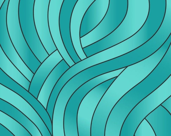 """Reflections Light Turquoise Waves by Lewis and Irene Ltd  105424 44"""" wide 100% Cotton Fabric"""