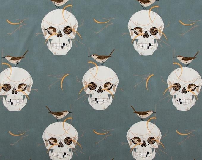 Charlie Harper Wrented Skulls on Grey Barkcloth for Birch Fabrics 100% Cotton