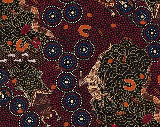 "M&S Textiles - Around The Waterhole Red Designed by Nambooka Australian Aboriginal Fabrics 44"" wide 100% Cotton Fabric"